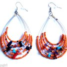 Orange Oval Beaded semi precious stone Earrings 3""