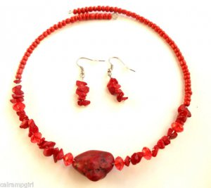 Red marble semi precious Stone Choker Earrings