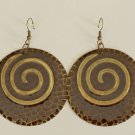 Brown Burnished antique gold Round Fashion Earrings