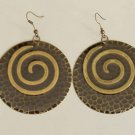 Black Burnished antique gold Round Fashion Earrings
