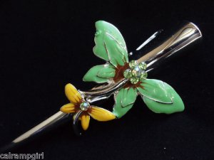 Rhinestone Hair Clip Green Yellow Dragonfly Claw Salon