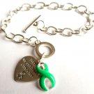Green Ribbon Charm Bracelet  Lymphoma awareness