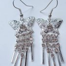Silver Butterfly Earrings clear crystals