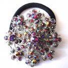 Ponytail Holder / Brooch Crystal Stones Red snowflake