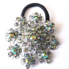 Ponytail Holder / Brooch Crystal stones Green snowflake