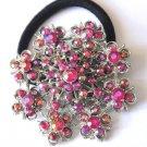 Ponytail Holder / Brooch Crystal stones Pink snowflake