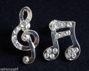 Silver Music Notes Earrings Crystal rhinestones