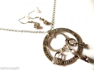 Love Dream Hope Trust Rings Charms Necklace Dark Silver