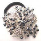 Black Designer Ponytail Holder / Brooch Crystal Stones