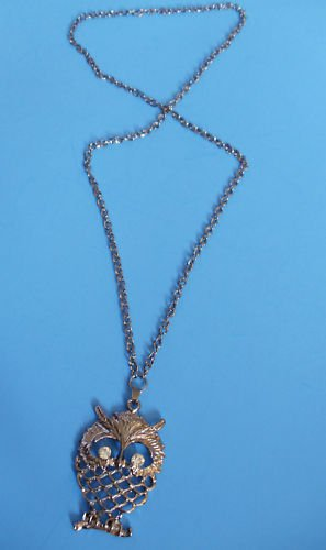 "Antique Silver Owl Necklace 30""  crystal stones"