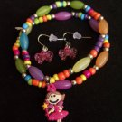 Kids Fairy Princess Charm Bracelet with Bow Earrings Pink