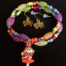 Kids Fairy Princess Charm Bracelet with Bow Earrings Orange
