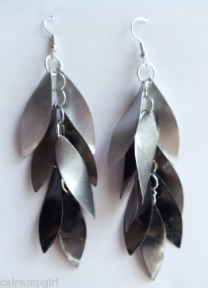 "4"" long metallic Black Earrings"