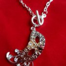Silver Mardi Gras Mask Toggle chain link Necklace crystal stones