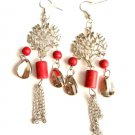 Tree of Life Dangling Red Bead Earrings Silver