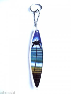 Surfboard Keychain Palm Tree
