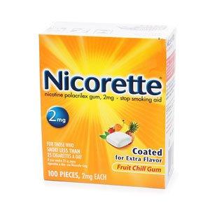 Nicorette Nicotine Gum 2mg, Fruit Chill 100 ea--stop smoking aid