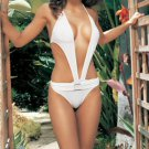 "WHITE ""Leg Avenue"" One Piece Bathing Suit with Buckle"