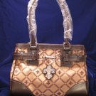 Fleur De Lis Print Stones Faux Leather Trim Handbag