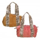 Genuine Rabbit Fur Handbag with Sequins Straps
