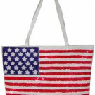USA Flag Sequin and Beaded Handbag