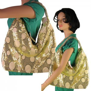 Sequin Circles Design Tote Handbag  GREEN