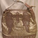 Taupe Cross/Wings Stones and Studded Bag