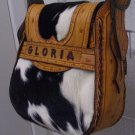 Gloria tote cow black&white skin  leather bag handbag purse