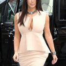 Celebrity Peplum Dress as seen on Kim Kardashian Beige