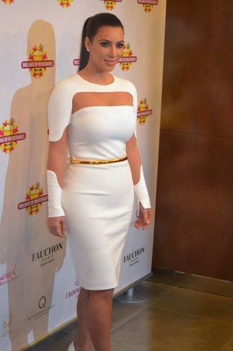 Celebrity Asymmetric Mini White Dress as seen on Kim Kardashian