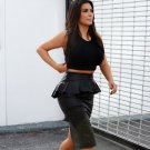 Black Pencil Knee Length peplum Skirt Celebrity Kim Kardashian Leatherette Party Leather Designer