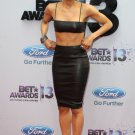 Black Pencil Knee Length Skit & Top Celebrity style Ciara Two Pieces Leatherette Bustier Bra Set