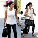 Celebrity Asymmetric White Peplum Top as seen on Kim Kardashian