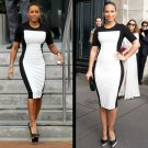 Black & White Mini Dress Celebrity style Alicia Keys Mel B Pencil Party Dress Designer Cotton Jersey
