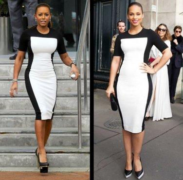 & White Mini Dress Celebrity style Alicia Keys Mel B Pencil Party ...