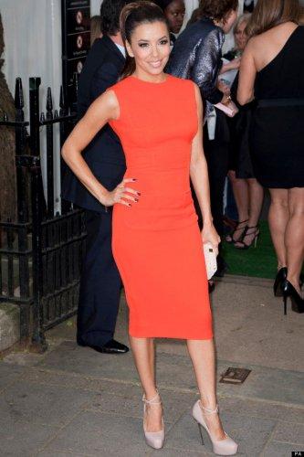 Celebrity style orange dress inspired, Longoria, Pencil Party Knee length Dress