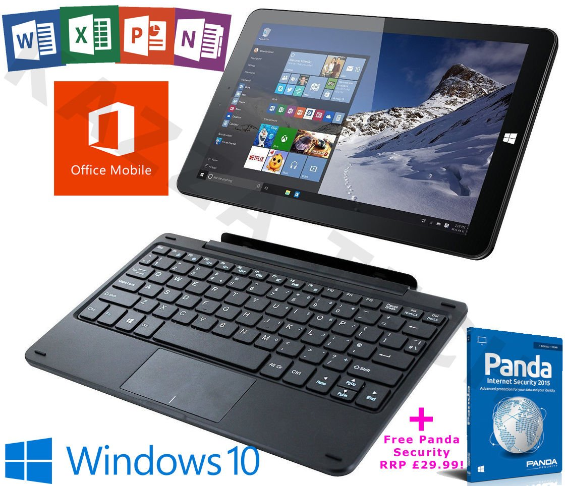 "Linx 1010B Intel Quad Core 32GB 2GB Windows 10 Office 10.1"" Tablet Keyboard Dock."