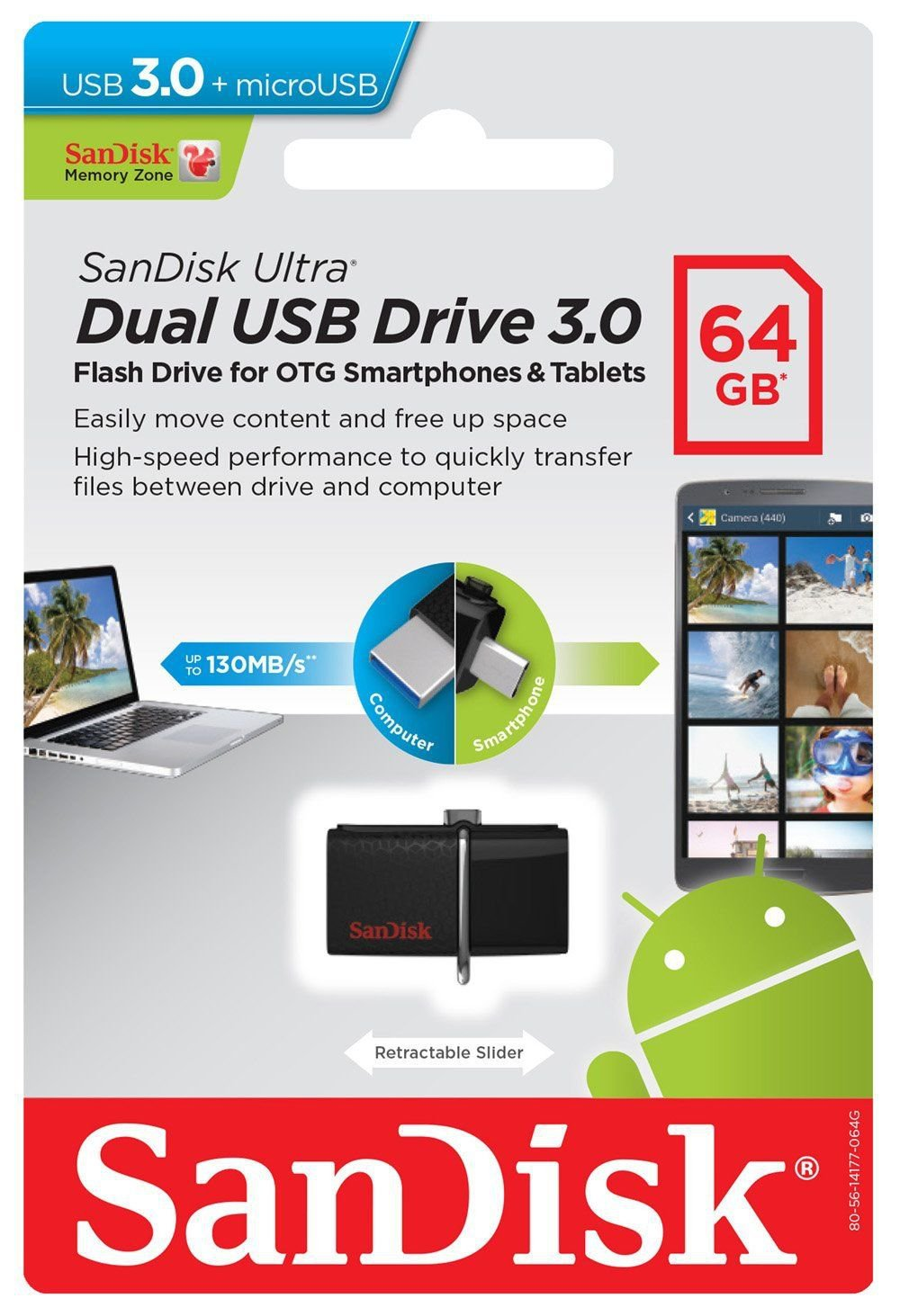 SanDisk 64GB Ultra Dual OTG USB 3.0 Flash Drive Memory Stick For Mobiles