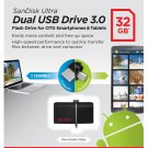 SANDISK 32GB ULTRA DUAL OTG MICRO FLASH DRIVE USB FOR MOBILE TABLET