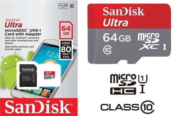 SanDisk Ultra 64 GB microSD SDXC Memory Card UHS-I Class 10 SD Adapter