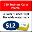 250 pcs  Promo 4 Color Business Cards one sided with UV on 1 side. Heavy Stock