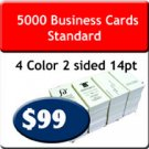 "5000 Business Cards 4/4 US Standard 2"" X 3.5 UV both sides. Heavy Stock."