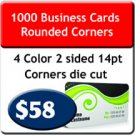 "1000 Business Cards 4/4 US Standard 2"" X 3.5 Rounded Corners UV both sides. Heavy Stock."