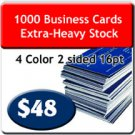 "1000 Business Cards 4/4 US Standard 2"" X 3.5 UV both sides. Extra-Heavy Stock."