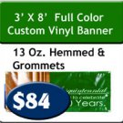 3' x 8' 13 oz Indoor/Outdoor Vinyl Banner Hemmed and Grommeted