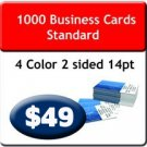 "1000 Business Cards 4/4 US Standard 2"" X 3.5 UV both sides. Heavy Stock."