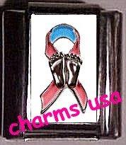 Prolife Awareness Ribbon Custom Italian Charm 9mm