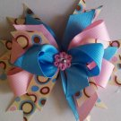 Pink, Blue and Dots layered hairbow