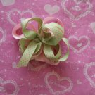 Pink & Mint green loopy hairbow