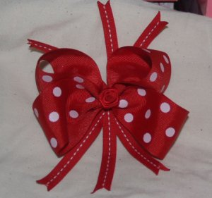 Red and Red/white polka dot hairbow